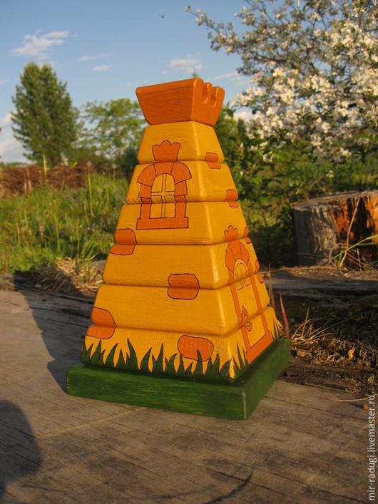 Развивающие игрушки ручной работы. Ярмарка Мастеров - ручная работа. Купить Деревянная пирамидка  Башня. Handmade. Разноцветный, игрушка для детей