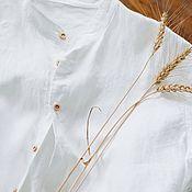 Рубашки ручной работы. Ярмарка Мастеров - ручная работа Мужская рубашка льняная, белый. Handmade.