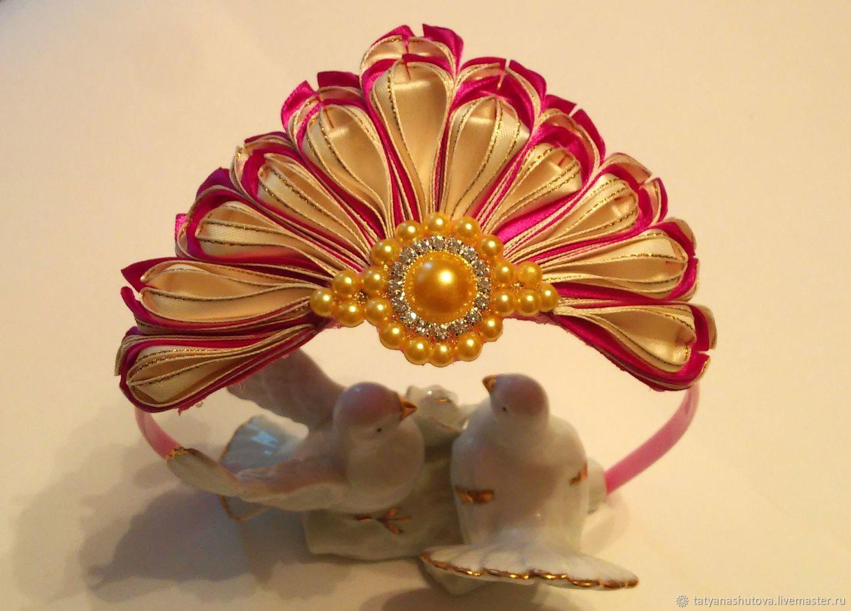 Ободок- корона в технике канзаши, Диадемы, Москва,  Фото №1