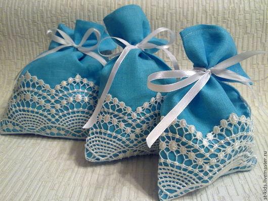 """Кухня ручной работы. Ярмарка Мастеров - ручная работа. Купить Набор""""Голубой  жемчуг""""мешочки для кухни льняные. Handmade. Бирюзовый, подарок на новый год"""