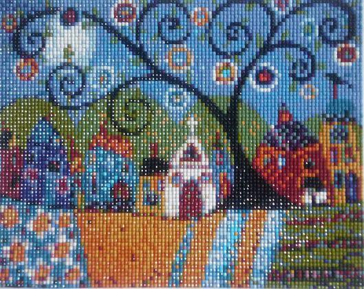 Пейзаж ручной работы. Ярмарка Мастеров - ручная работа. Купить Алмазная мозаика Огород. Handmade. Алмазная мозаика, село, картина