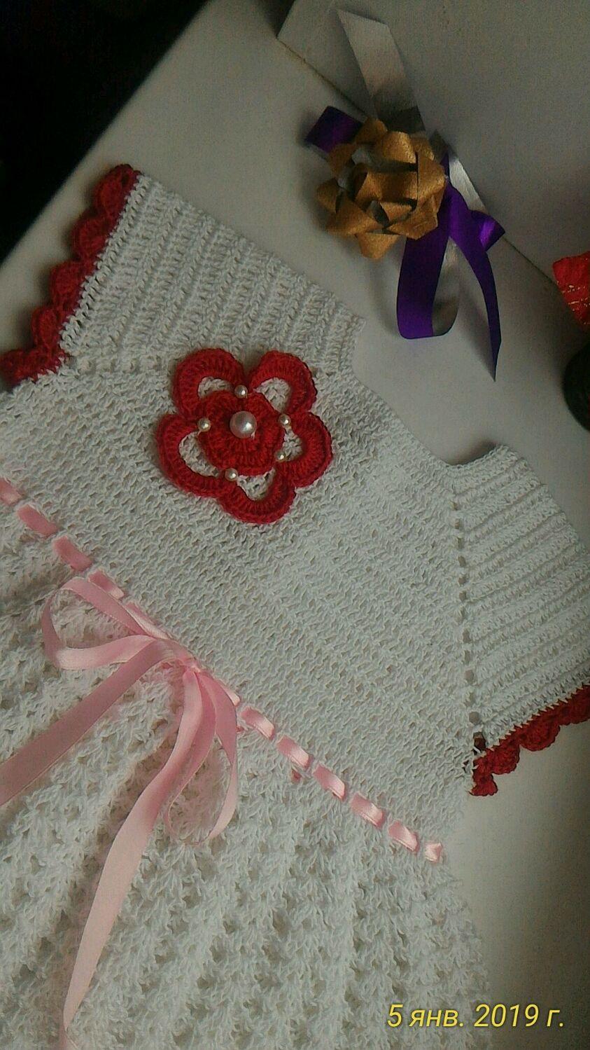 Платье нарядное ажурное, вязаное крючком ,, Аленький цветочек,,