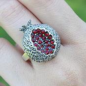 Украшения handmade. Livemaster - original item Garnet ring with zircons made of 925 GA0051 silver. Handmade.