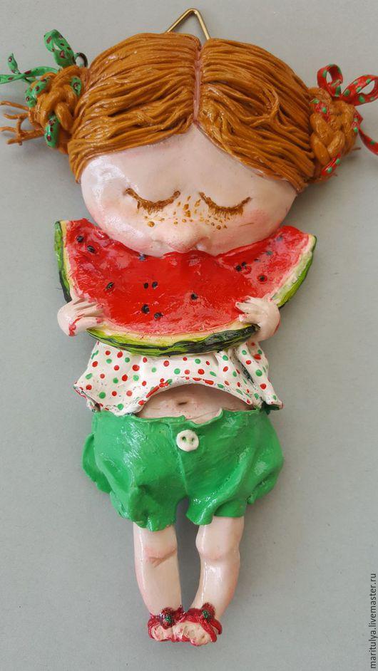 Статуэтки ручной работы. Ярмарка Мастеров - ручная работа. Купить Настенное украшение Я с арбузиком. Handmade. Комбинированный, арбузик