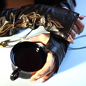 Аксессуары handmade. Livemaster - original item Mitts of leather