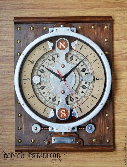 Часы для дома ручной работы. Ярмарка Мастеров - ручная работа. Купить Часы настенные декоративные «Компас» (Морская серия). Handmade.