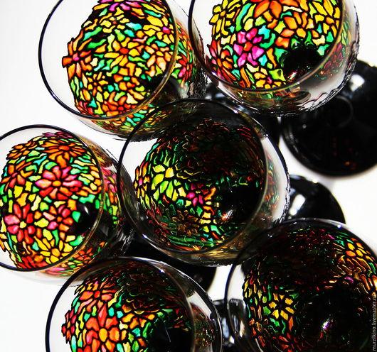 Бокалы, стаканы ручной работы. Ярмарка Мастеров - ручная работа. Купить Набор бокалов Цинии (под витраж Тиффани). Handmade.