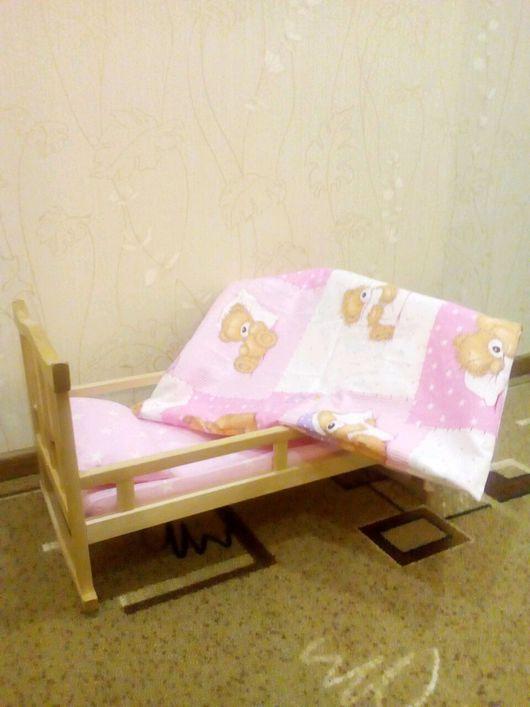 """Одежда для кукол ручной работы. Ярмарка Мастеров - ручная работа. Купить Постельное белье в кукольную кроватку. """"Мишутка"""" розовый.. Handmade."""