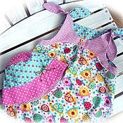 Работы для детей, ручной работы. Ярмарка Мастеров - ручная работа Пляжный комплект для девочки - панама и сарафан. Handmade.