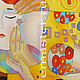 """Шали, палантины ручной работы. Шелковый платок-картина (Батик)  """"Поцелуй"""". Katya Noono. Ярмарка Мастеров. Холодный батик, нежность"""