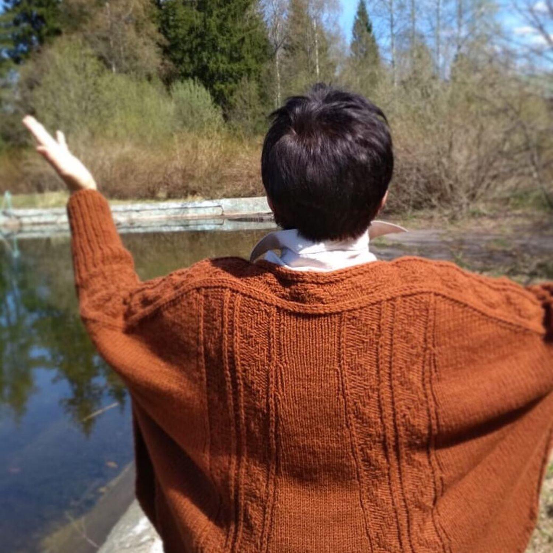 Stylish hand-knitted wool Poncho Caramel, Ponchos, Zelenograd,  Фото №1