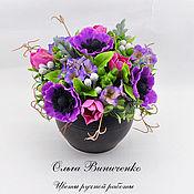 Цветы и флористика ручной работы. Ярмарка Мастеров - ручная работа Композиция с анемонами и тюльпанами. Handmade.