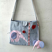 """Работы для детей, ручной работы. Ярмарка Мастеров - ручная работа Летняя детская сумка с аппликацией """"Слон"""". Handmade."""