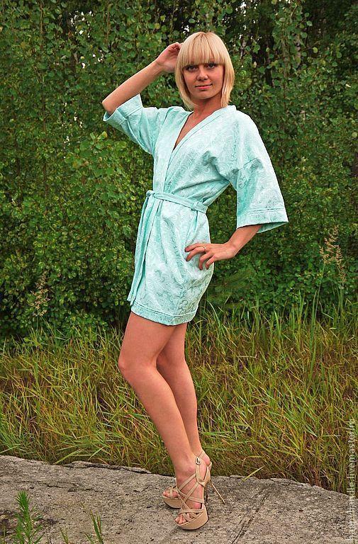 Халаты ручной работы. Ярмарка Мастеров - ручная работа. Купить Халатик-кимоно. Handmade. Мятный, короткий, для бани