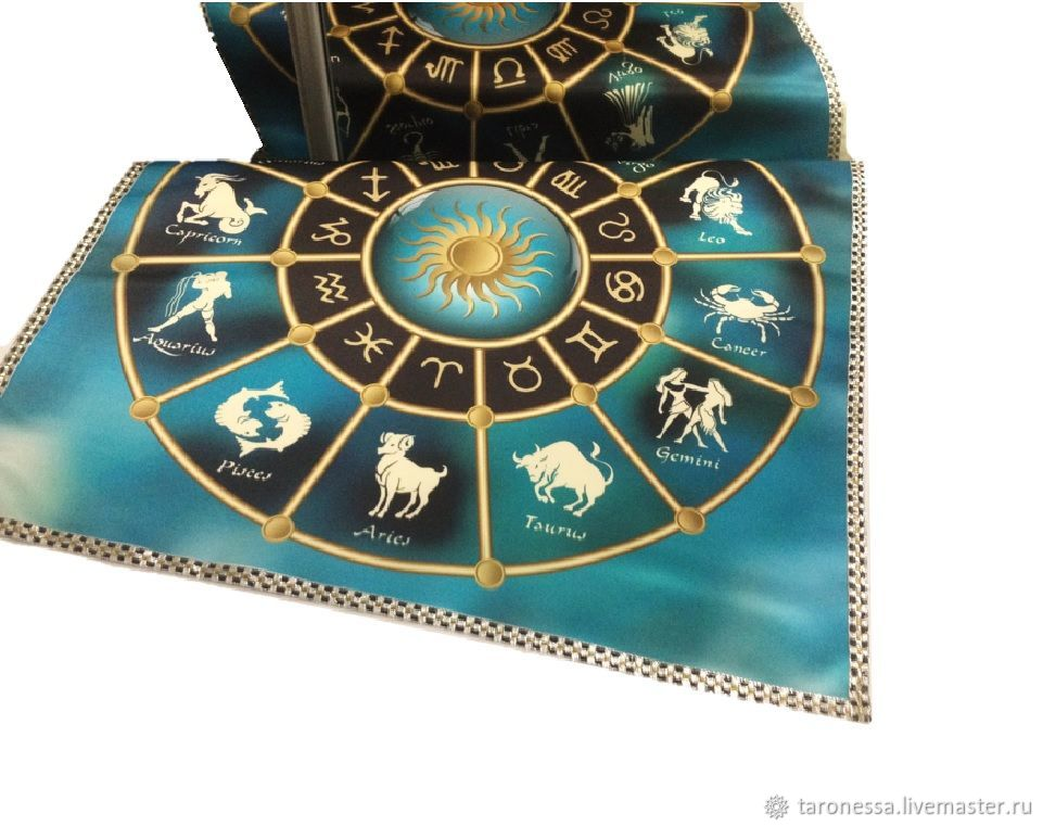 Table cloth for divination 52h52 cm.' Turquoise horoscope', Horoscope, Noginsk,  Фото №1