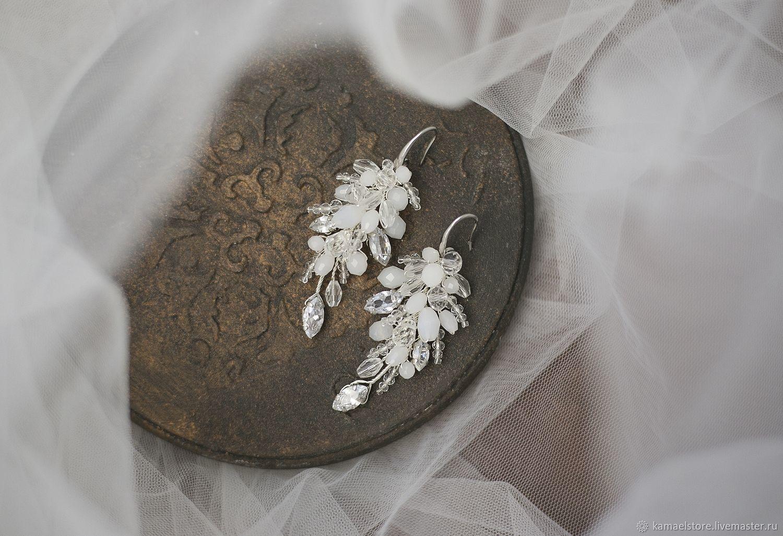 White braided wedding earrings with cubic Zirconia, Earrings, Novorossiysk,  Фото №1