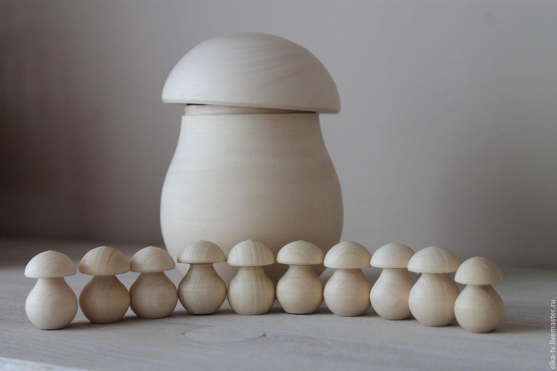 Декупаж и роспись ручной работы. Ярмарка Мастеров - ручная работа. Купить Деревянный гриб+10 мини грибов. Handmade. Коричневый