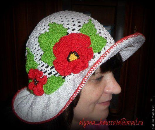 Шляпы ручной работы. Ярмарка Мастеров - ручная работа. Купить красные маки. Handmade. Белый, шляпка, шляпа с полями