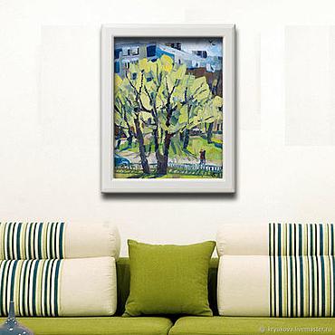 Картины и панно ручной работы. Ярмарка Мастеров - ручная работа «Весна...» Картина маслом пейзаж город любовь. Handmade.