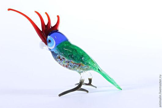 Статуэтки ручной работы. Ярмарка Мастеров - ручная работа. Купить Стеклянная фигурка птицы  попугая Какаду. Handmade. Какаду, яркий