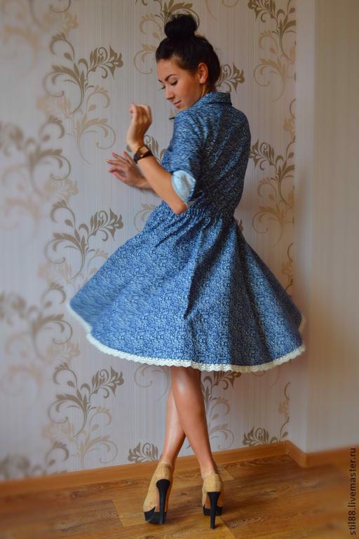 """Платья ручной работы. Ярмарка Мастеров - ручная работа. Купить Платье из джинсы """" Современная романтика"""". Handmade. Синий"""