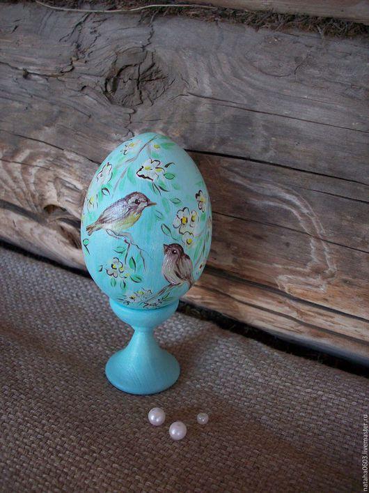 Подарки на Пасху ручной работы. Ярмарка Мастеров - ручная работа. Купить Небесные пташки........Пасхальное яйцо с росписью.. Handmade. Голубой