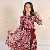 Одежда ручной работы. Ярмарка Мастеров - ручная работа Скидка - 50%Платье с поясом (бордо). Handmade.
