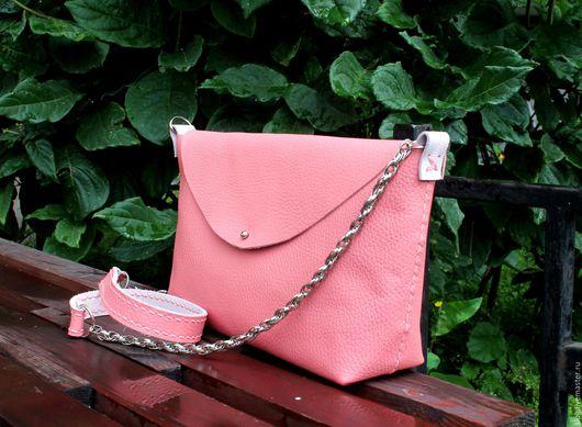 Женские сумки ручной работы. Ярмарка Мастеров - ручная работа. Купить Кожаная сумка ручной работы розовая. Handmade.