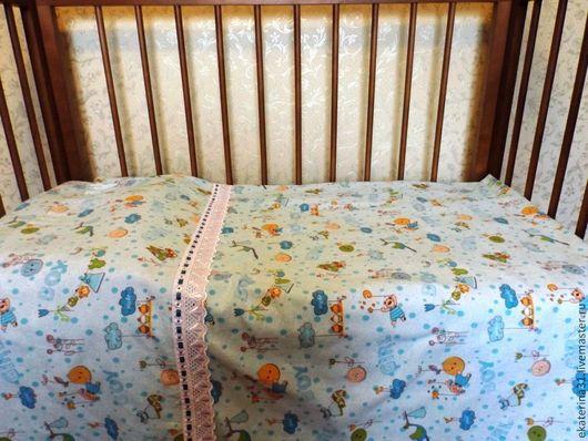 """Детская ручной работы. Ярмарка Мастеров - ручная работа. Купить фланелевое постельное бельё """" Спокойной ночи!"""". Handmade. Бирюзовый"""