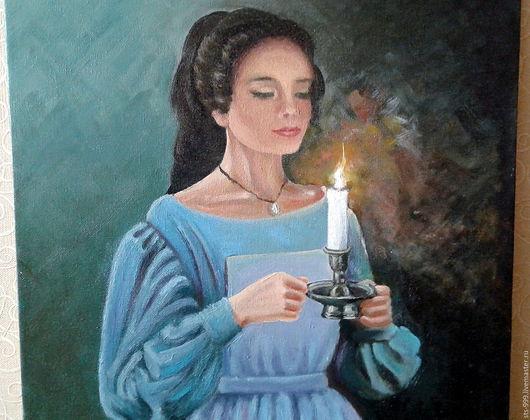 Люди, ручной работы. Ярмарка Мастеров - ручная работа. Купить Картина маслом. Девушка со свечой. Handmade. Морская волна