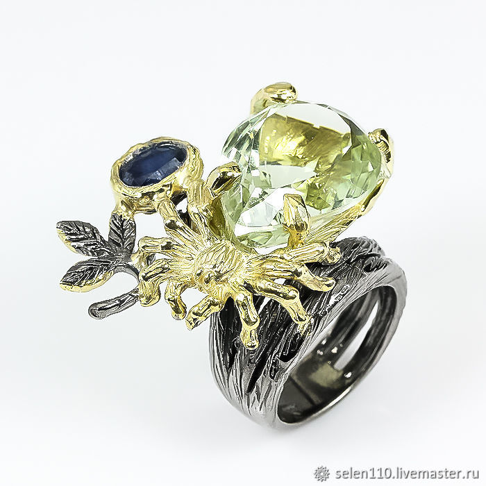 Ring 'dream Catcher' with amethyst and green sapphire, Rings, Voronezh,  Фото №1