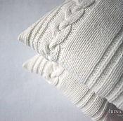 Для дома и интерьера handmade. Livemaster - original item Pillow Simple white knitted decorative handmade. Handmade.