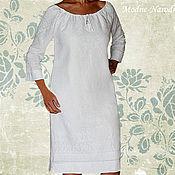 Одежда ручной работы. Ярмарка Мастеров - ручная работа Белое платье из льна НАРЯДНОЕ-НЕНАГЛЯДНОЕ Дизайнерское платье купить. Handmade.