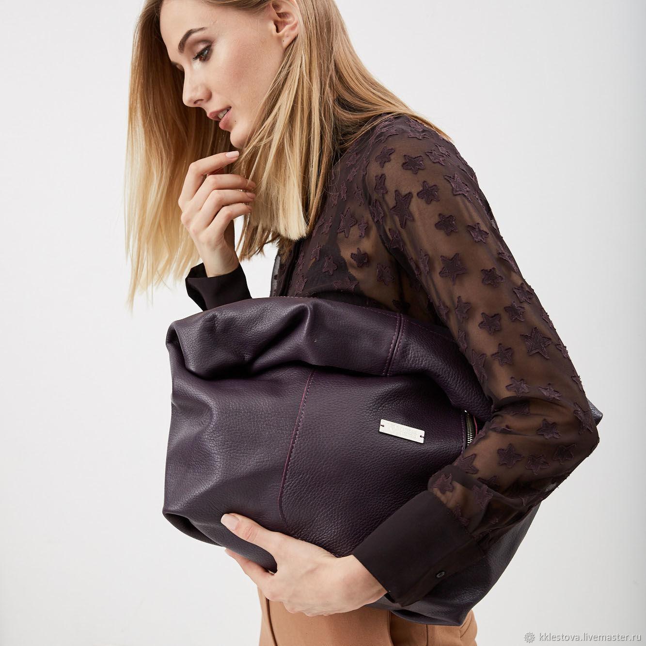 Purple leather Bag Bag big bag shopping Bag shopper Bag t-shirt, Sacks, Moscow,  Фото №1