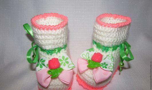 """Для новорожденных, ручной работы. Ярмарка Мастеров - ручная работа. Купить Пинетки """"Тюльпаны"""". Handmade. Комбинированный, для девочки, на выписку, тюльпан"""