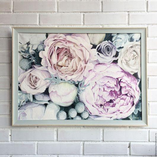 Картины цветов ручной работы. Ярмарка Мастеров - ручная работа. Купить Картина маслом Мятная нежность 50х70 см. Handmade.