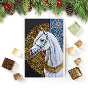 Открытки handmade. Livemaster - original item Postcard horse White angel. Handmade.