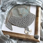 Украшения handmade. Livemaster - original item Leather necklace Lovely grey. Handmade.
