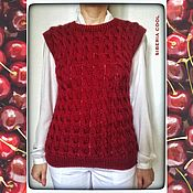 Одежда handmade. Livemaster - original item Vest women`s Cherry bling, silver, pattern braids, wool and silk. Handmade.