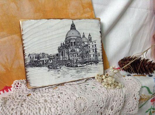Город ручной работы. Ярмарка Мастеров - ручная работа. Купить Панно. Венеция.. Handmade. Чёрно-белый, пейзаж, италия, панно