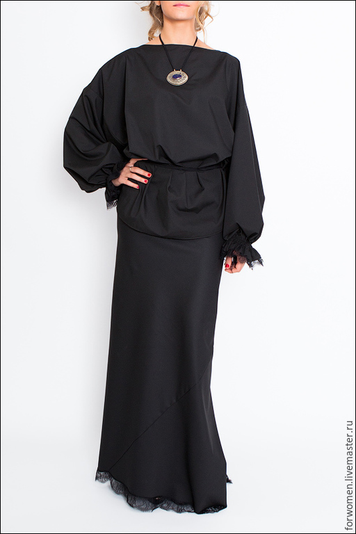 Купить блузку черную с кружевом