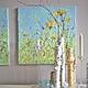 картина маслом на холсте с подрамником объемная живопись Мимоза салатовая кухня комната светлая кухня комната светло-зеленая кухня комната букет цветов мимоза календула ноготки салатовые бирюзовые гол