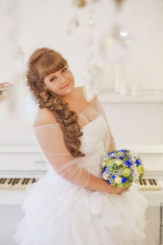 """Свадебные цветы ручной работы. Ярмарка Мастеров - ручная работа. Купить свадебный букет для невесты """"Зеленое Яблочко"""". Handmade. Салатовый"""