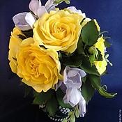 """Цветы и флористика ручной работы. Ярмарка Мастеров - ручная работа Букет из фоамирана """"Желтые розы"""". Handmade."""
