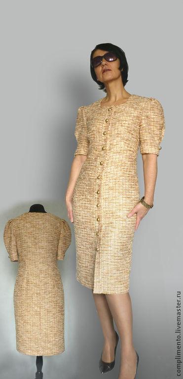 """Платья ручной работы. Ярмарка Мастеров - ручная работа. Купить Платье-футляр  из ткани """"шанель""""  ГАБИ. Handmade. Бежевый"""