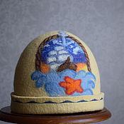 """Для дома и интерьера ручной работы. Ярмарка Мастеров - ручная работа шапка для бани мужская """" Морская"""". Handmade."""