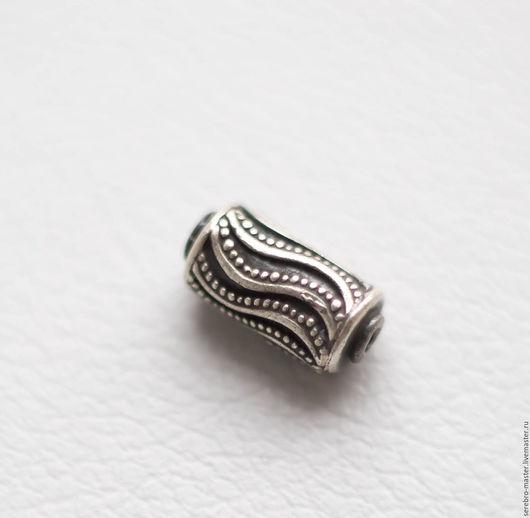Для украшений ручной работы. Ярмарка Мастеров - ручная работа. Купить Бусина (цилиндр), серебро 925 пр, Арт 1350. Handmade.