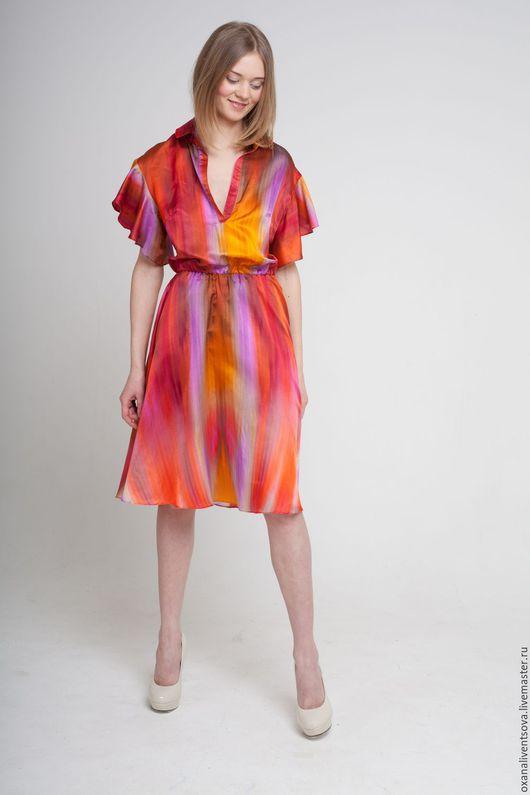 Платья ручной работы. Ярмарка Мастеров - ручная работа. Купить Платье короткое оранжевое летящего силуэта. Handmade. Рыжий