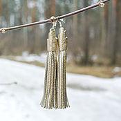 Платиновые Серьги-Кисти из Кожи (Indiana_Gold)