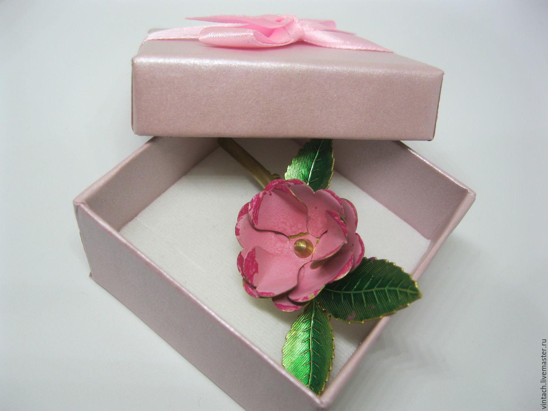 Винтаж: Брошь Розовый Цветок. Латунь.Цветные эмали, Винтажные украшения, Орск, Фото №1